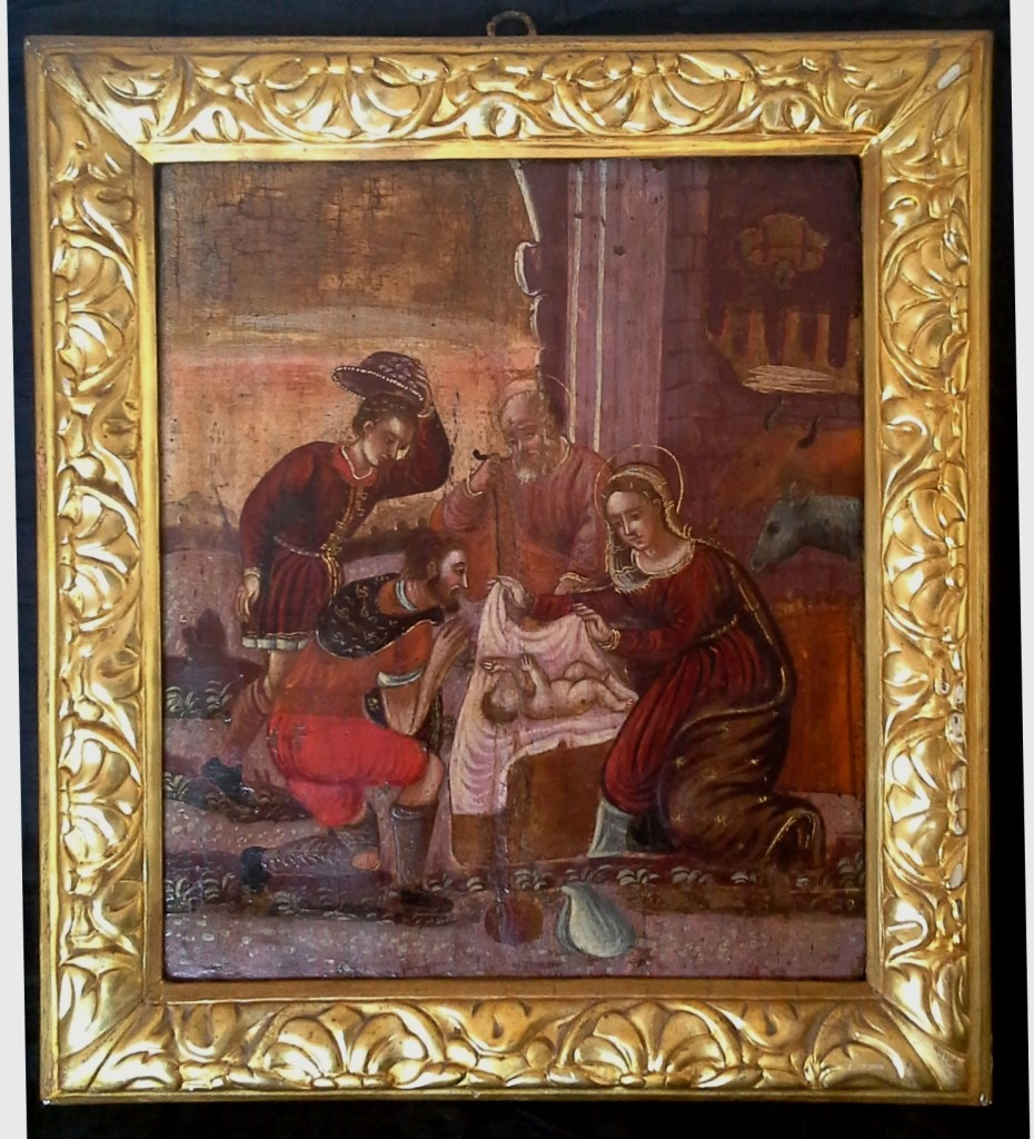 n. 180 -Adorazione dei pastori scuola veneto-cretese sec. XVI-XVII 43 x 36 tempera su tavola, due traverse posteriori inchiodate EUR 3900